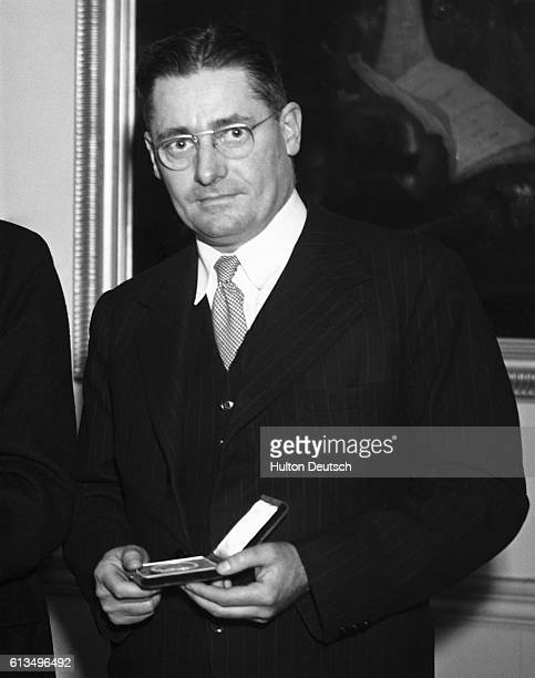 The pathologist Sir Howard Florey with the Albert Gold Medal he was awarded jointly with Sir Alexander Fleming in 1946 for their work on antibiotics