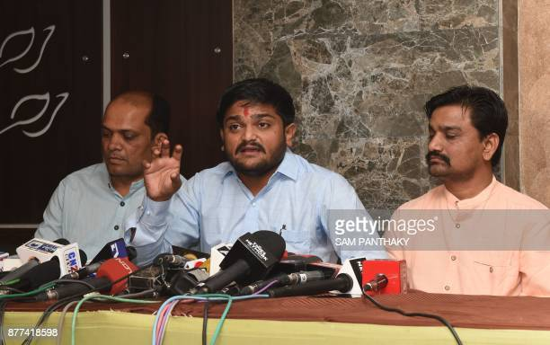 The Patidar Anamat Andolan Samiti convener Hardik Patel speaks during a press conference in Ahmedabad on November 22 2017 Hardik Patel the PAAS...