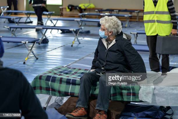 The patients are hosted at for the field hospital on October 15 2020 in Turin Italy The Emergency Piedmont Civil Protection train daily to organize...