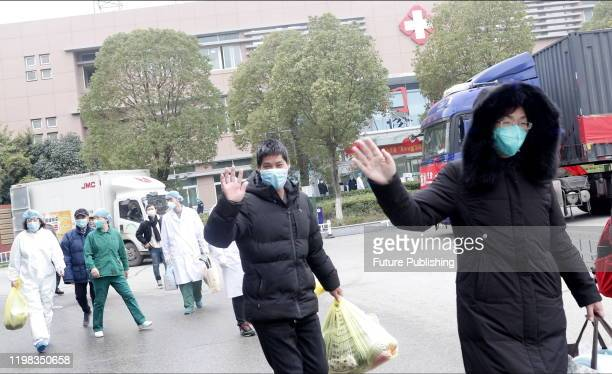 WUHAN CHINA FEBRUARY 2 2020 The patients who were cured and discharged were leaving Jinyintan hospital Wuhan City Hubei Province China February 2...
