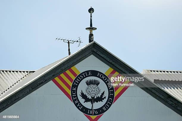 The Patrick Thistle emblem on the main stand during a preseason friendly match between Patrick Thistle FC and Rotherham United at Firhill Stadium on...