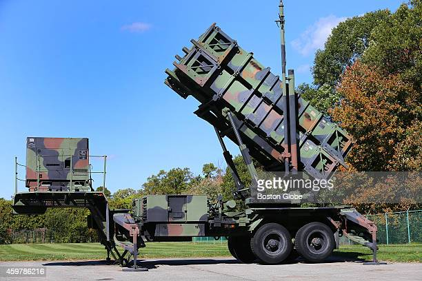 The patriot missile is manufactured at Raytheon's Integrated Air Defense Center in Andover One of their Patriot missile launchers sits on display at...