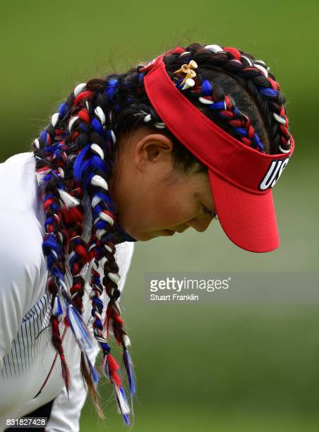 The patriotic hair of Michelle Wie of Team USA is seen during practice for The Solheim Cup at the Des Moines Country Club on August 15 2017 in West...