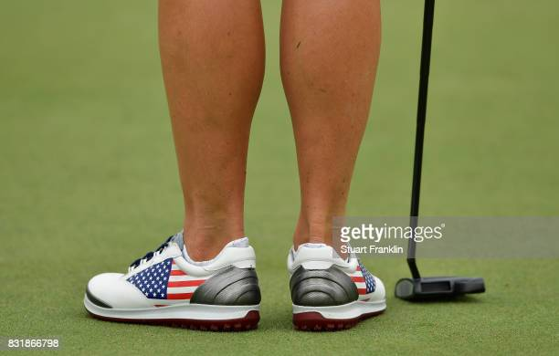 The patriotic shoes of Gerina Piller of Team USA during practice for The Solheim Cup at the Des Moines Country Club on August 15 2017 in West Des...