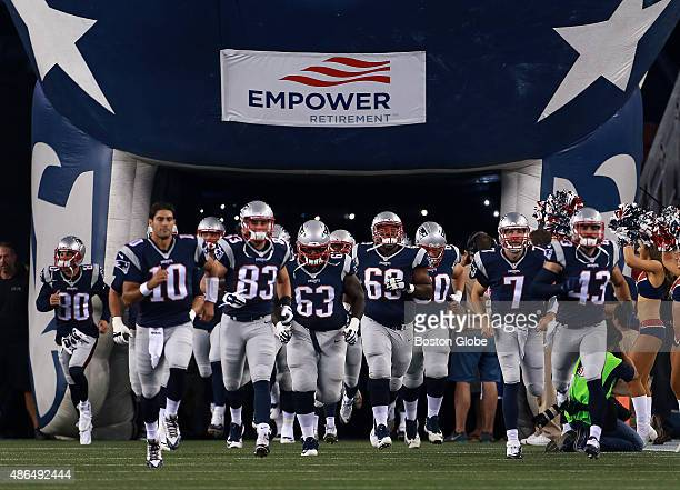 The Patriots are pictured as they take the field without Tom Brady prior to the start of the final exhibition game of the season Earlier in the day...
