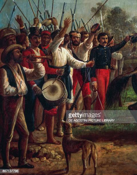 The patriots cheering Simon Bolivar following the Battle of Carabobo on June 24 detail from the painting Delivery of the Flag by Arturo Michelena...
