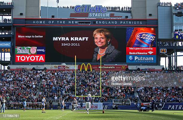 The Patriots paid tribute to the late Myra Kraft before the game The New England Patriots host the San Diego Chargers in a regular season NFL game at...