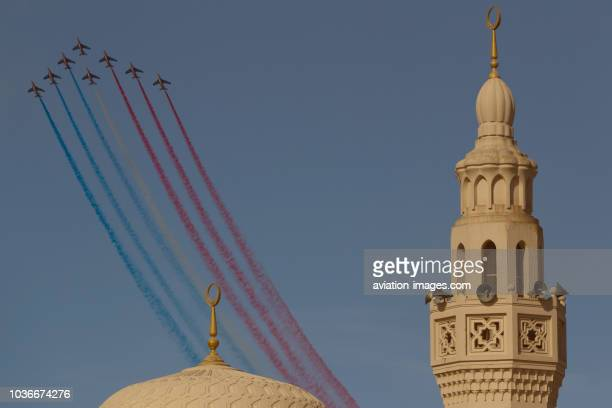 The Patrouille de France aerobatic team utilizing Alpha Jet airplanes performs at Dubai International Airshow2011 UAE
