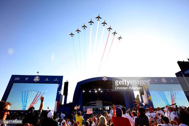 The Patrouille de France fly over during the opening ceremony for the 2018 Ryder Cup at Le Golf National on September 27 2018 in Paris France
