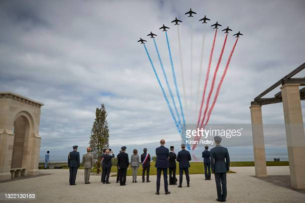 The Patrouille de France fly over The British Normandy Memorial during the opening ceremony on the 77th anniversary of D-Day on June 06, 2021 in...