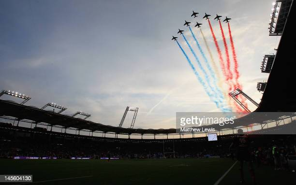 The Patrouille de France fly over the Stade de Toulouse before the start of the match during the French Top 14 Semi Final match between Toulouse and...
