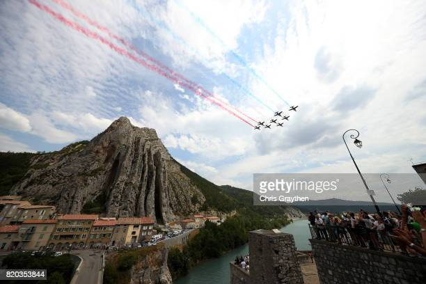 The Patrouille de France perform an aerobatic display through Sisteron during stage nineteen of the 2017 Tour de France a 2225km stage from Embrun to...