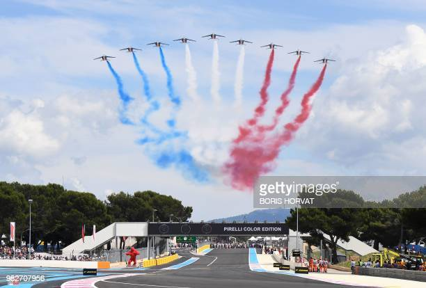 The Patrouille de France performs ahead of the Formula One Grand Prix de France at the Circuit Paul Ricard in Le Castellet, southern France, on June...