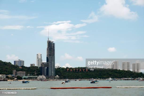 the pattaya city sign. - golf von thailand stock-fotos und bilder