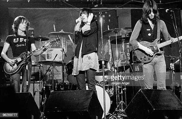 The Patti Smith Group Ivan Kral Patti Smith and Lenny Kaye perform on stage in May 1976 in Copenhagen Denmark