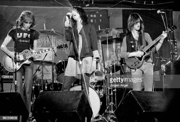 The Patti Smith Group Ivan Kral Patti Smith and Lenny Kaye perform on stage in May 1976 in Copenhagen Denmark Lenny Kaye plays a Gibson Les Paul...