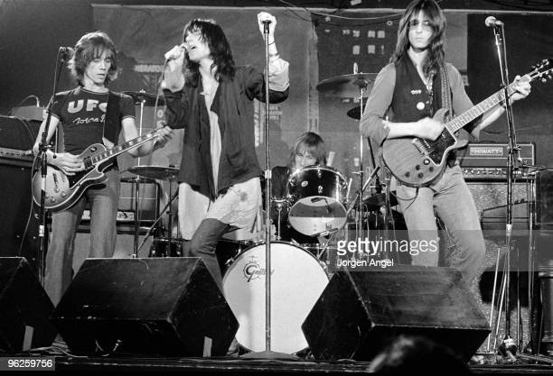 The Patti Smith Group Ivan Kral Patti Smith Jay Dee Daugherty and Lenny Kaye perform on stage in May 1976 in Copenhagen Denmark Lenny Kaye plays a...