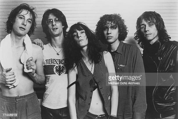 The Patti Smith Group Jay Dee Doughety Lenny Kaye Patti Smith Richard Sohl and Ivan Kral pose for a portrait circa 1977