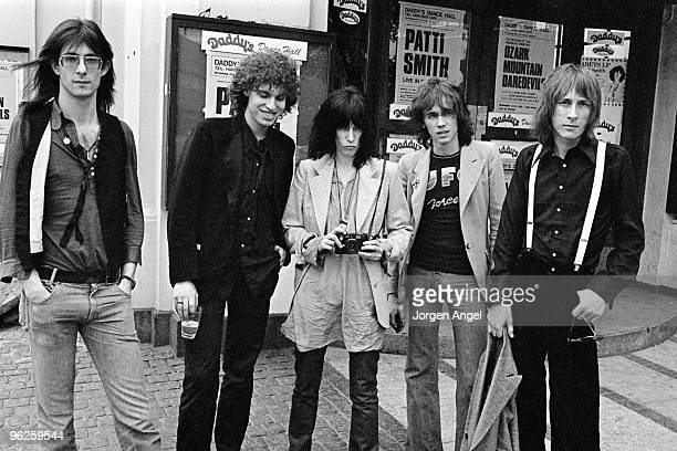 The Patti Smith Group pose for portraits Lenny Kaye Richard Sohl Patti Smith Ivan Kral and Jay Dee Daugherty in May 1976 in Copenhagen Denmark
