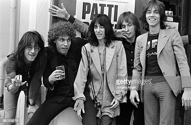 The Patti Smith Group pose for portraits Lenny Kaye Richard Sohl Patti Smith Jay Dee Daugherty and Ivan Kral in May 1976 in Copenhagen Denmark