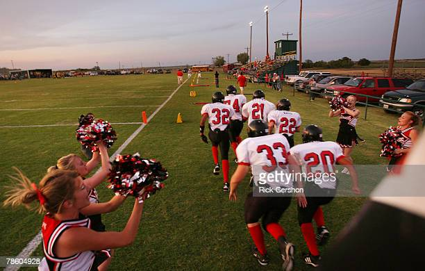 The Patton Springs Rangers six man football team take the field against the Guthrie Jaguars on October 11 2007 in Guthrie Texas Without six man...