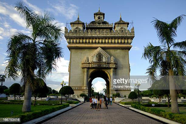 The Patuxai in the heart of Vientiane capital of Laos The landmark was grossly model after the Arc de Triumph of Paris and was built between 1962 and...