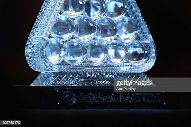 The Paul Hunter Trophy is pictured during the SemiFinal match between Mark Allen and John Higgins on Day Seven of The Dafabet Masters at Alexandra...