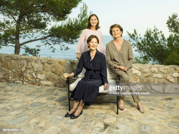 The Paul Ricard Family with Michele Daniele and Beatrice who are photographed for Paris Match on June 23 2018 on the Island of Bendor near Toulon...