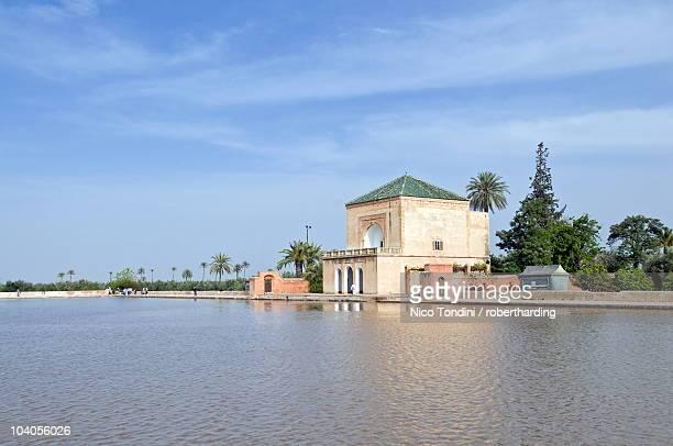The pavilion and artificial lake of Menara, Menara Gardens, Marrakech, Morocco, North Africa, Africa
