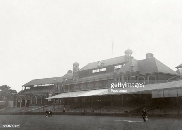 The Pavilion of the Surrey County Cricket Team at The Kennington Oval in London, circa 1902.
