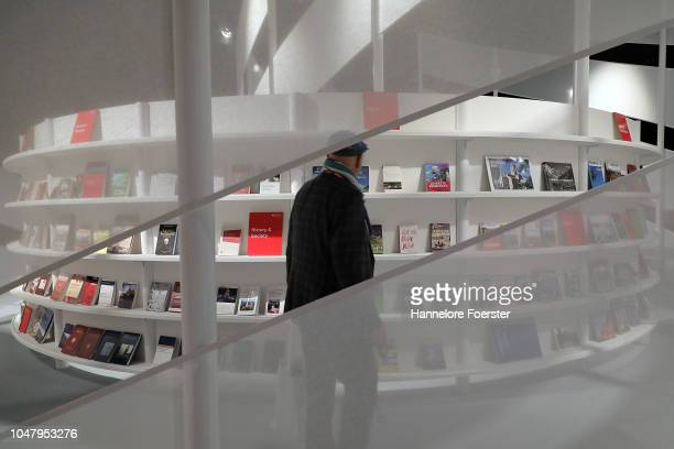 The pavillion of Georgia, the Guest of Honour, at the Frankfurt Book Fair on October 9, 2018 in Frankfurt, Germany. Approximately 7,100 exhibitors...