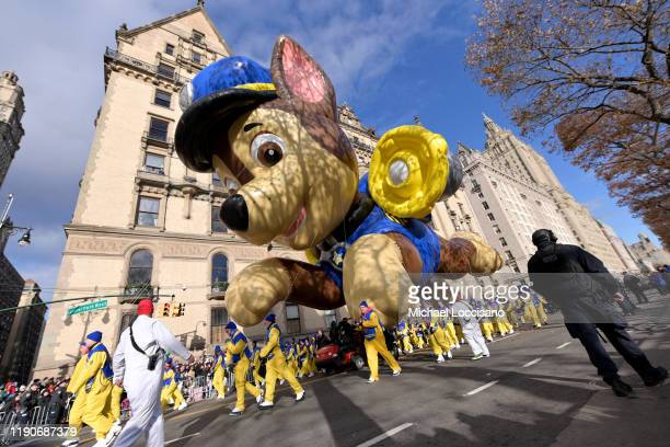 The Paw Patrol balloon balloon floats low down the parade route during the 93rd Annual Macy's Thanksgiving Day Parade on November 28, 2019 in New...