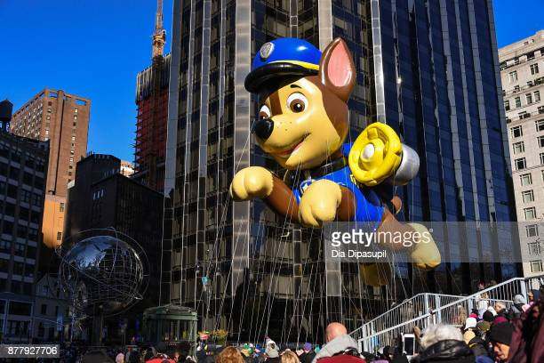 The PAW Patrol balloon floats in Columbus Circle during the 91st Annual Macy's Thanksgiving Day Parade on November 23, 2017 in New York City.