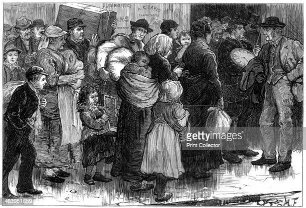 The pawn office at MerthyrTydfil Wales 1875 Mining families pawn possessions during the lockout in South Wales A print from The Illustrated London...
