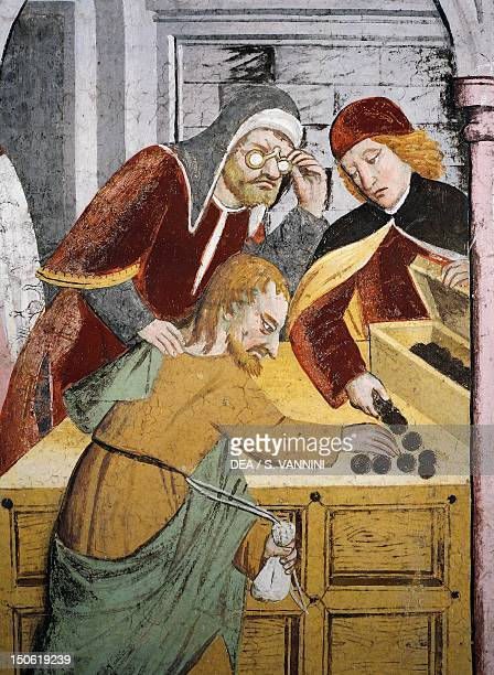 The pawnbroker detail from Betrayal by Judas fresco by Giovanni Canavesio in the NotreDame des Fontaines Chapel La Brigue France 15th century