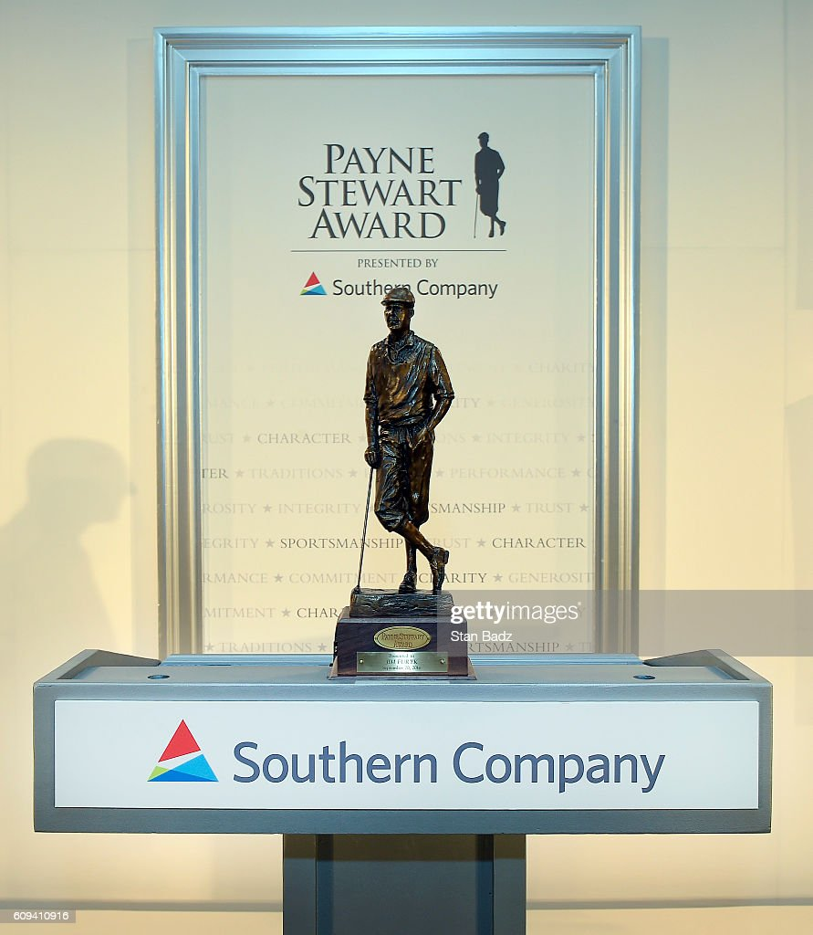 The Payne Stewart trophy is displayed on stage during The Payne Stewart Awards ceremony for the TOUR Championship, the final event of the FedExCup Playoffs, at East Lake Golf Club on September 20, 2016 in Atlanta, Georgia.