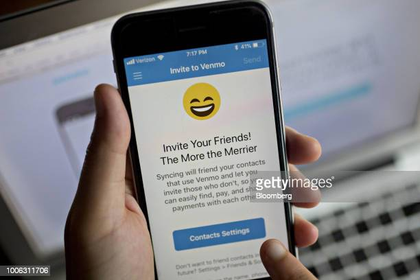 The Paypal Holdings Inc Venmo application is displayed on an Apple Inc iPhone in an arranged photograph taken in Washington DC US on Monday July 23...