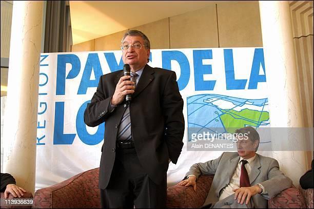 The Pays de la Loire regional council In Nantes France On April 02 2004Press conference of Jacques Auxiette with Yannick Vaugrenard first vice...