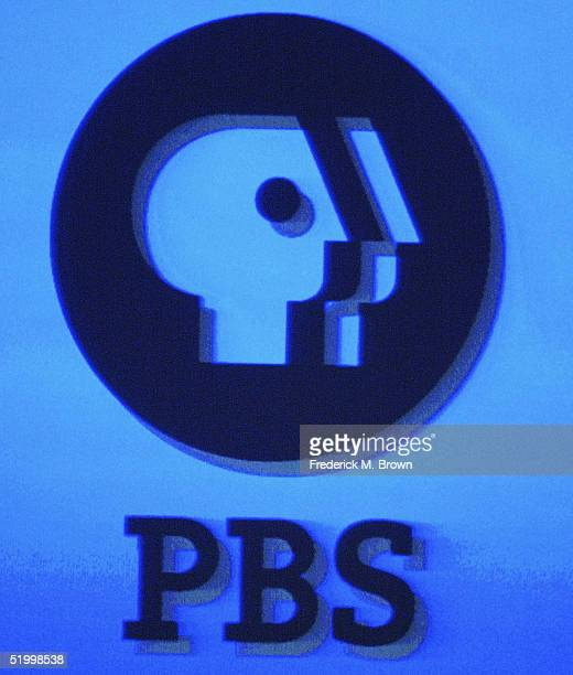 The PBS logo is displayed on a monitor during the PBS 2005 Television Critics Winter Press Tour at the Hilton Universal Hotel on January 15, 2005 in...