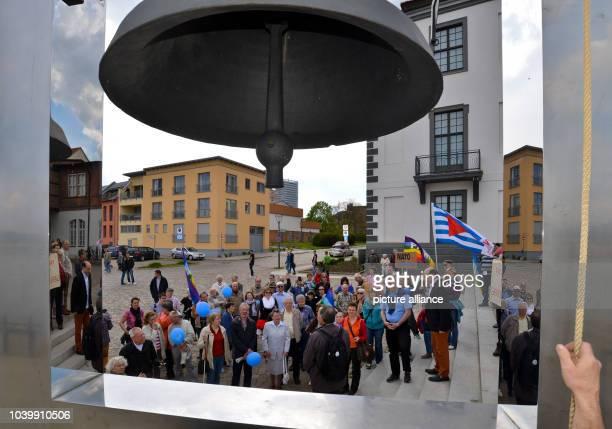 The Peace bell sounds at the end of an Ostermarsch demonstration under the Motto 'Eine andere Welt ist möglich Frieden kommt durch Gerechtigkeit und...