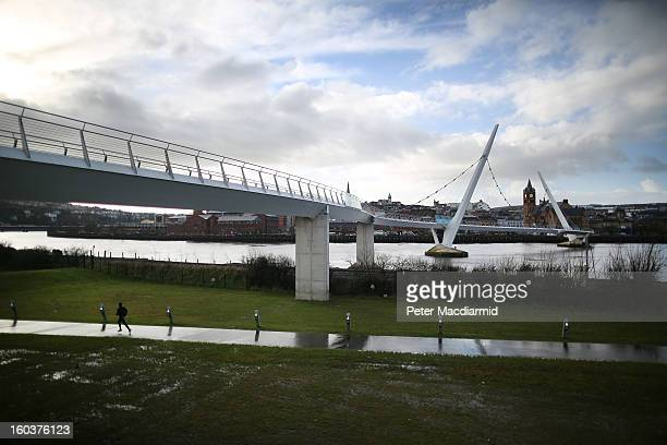 The Peace Bridge crosses the River Foyle on January 30, 2013 in Londonderry, Northern Ireland. A year of events have started as Derry celebrates...