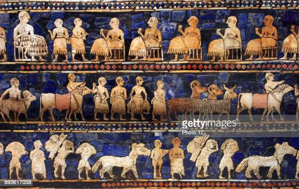 The Peace frieze from the Standard of Ur Sumerian artefact excavated by the archaeologist Sir Leonard Woolley from the Royal Cemetery in Ur The...