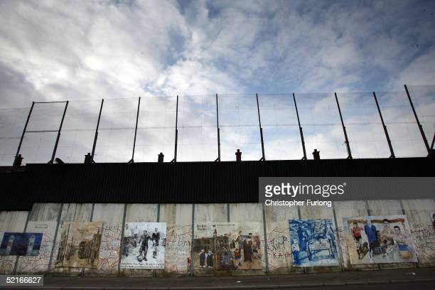 "The ""Peace Line"" fence is seen on February 9, 2005 that stretches between the Catholic and Protestant areas of West Belfast, Northern Ireland...."