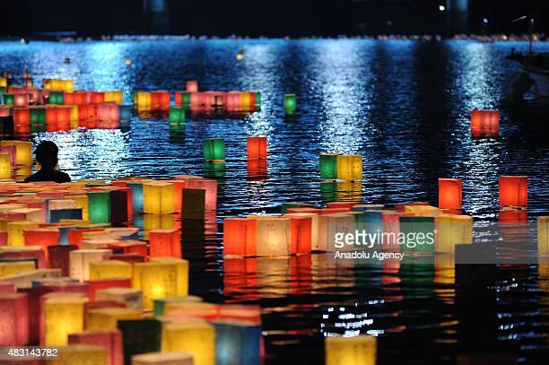 The Peace Message Lantern Floating Ceremony is held to console the souls of the ABomb victims after the Hiroshima Peace Memorial Ceremony at the...