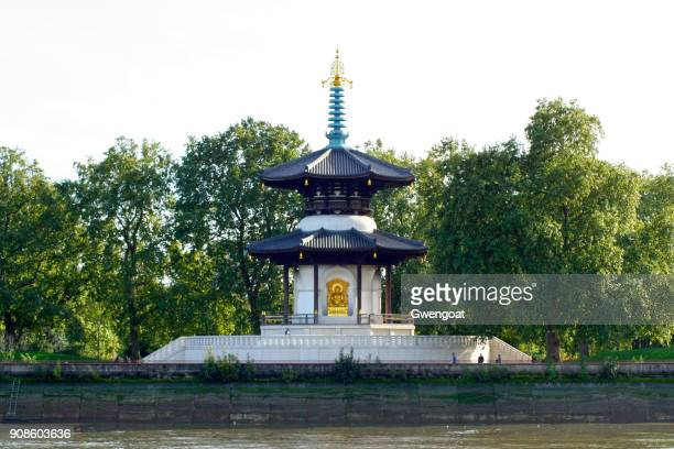 the peace pagoda of battersea park - battersea park stock photos and pictures