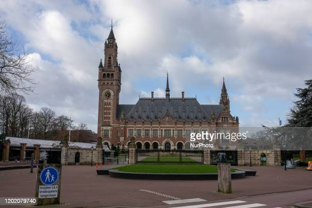 The Peace Palace, an international law administrative building, in The Hague, Netherlands, on February 20, 2020. The Hague is a city on the North Sea...