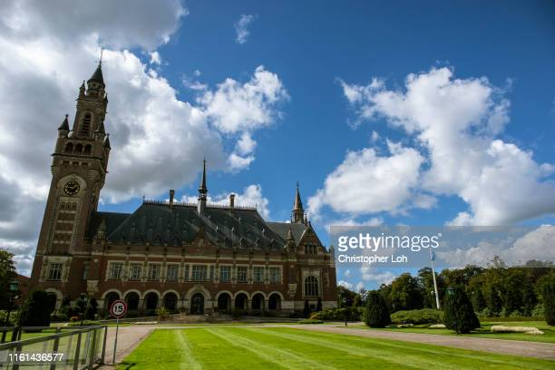 the peace palace - international court of justice stock pictures, royalty-free photos & images