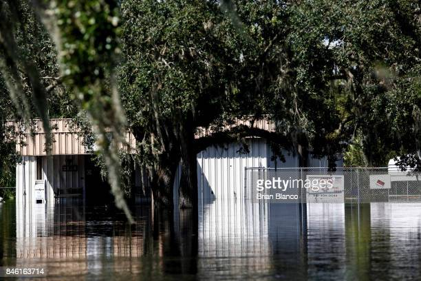 The Peace River VFW sits in floodwater from the nearby Peace River in the wake of Hurricane Irma on September 12 2017 in Arcadia Florida