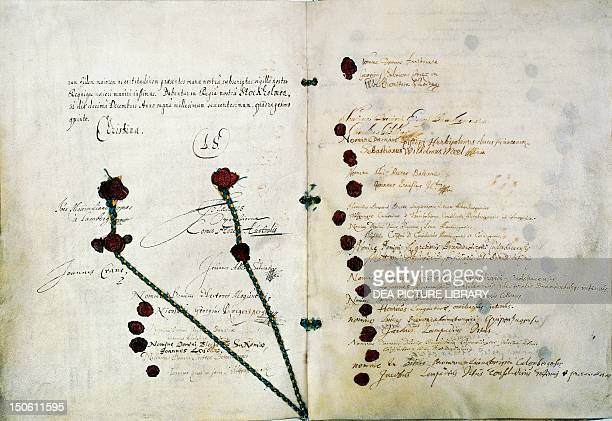 The peace treaty of Westphalia at the end of the Thirty Years' War 1648 Germany 17th century