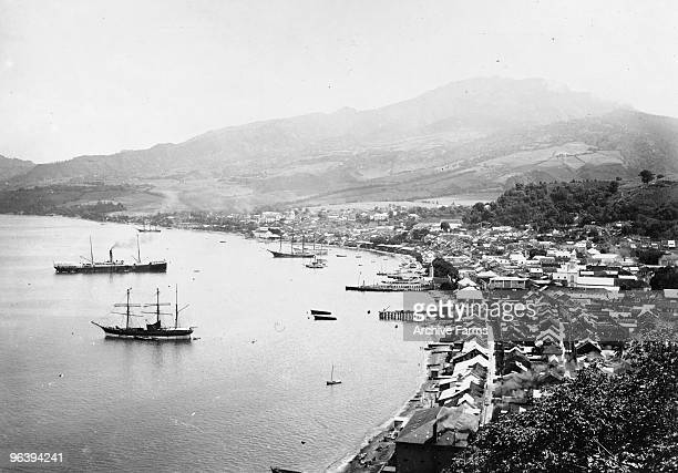 The peaceful city of St Pierre on August 1 1901 before the eruption of the Mount Pelee volcano which occured on May 8 1902 at St Pierre Martinique